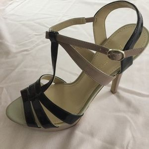 Enzo Angiolini Dusty Pink and Black Strappy Heels